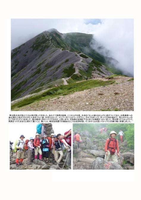 白馬雪渓-白馬岳-栂池へ(夏山合宿)5