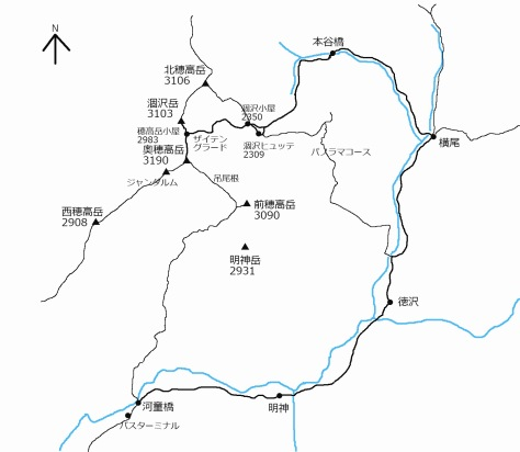 奥穂高岳地図(報告書)