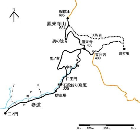 鳳来寺山地図(概略)
