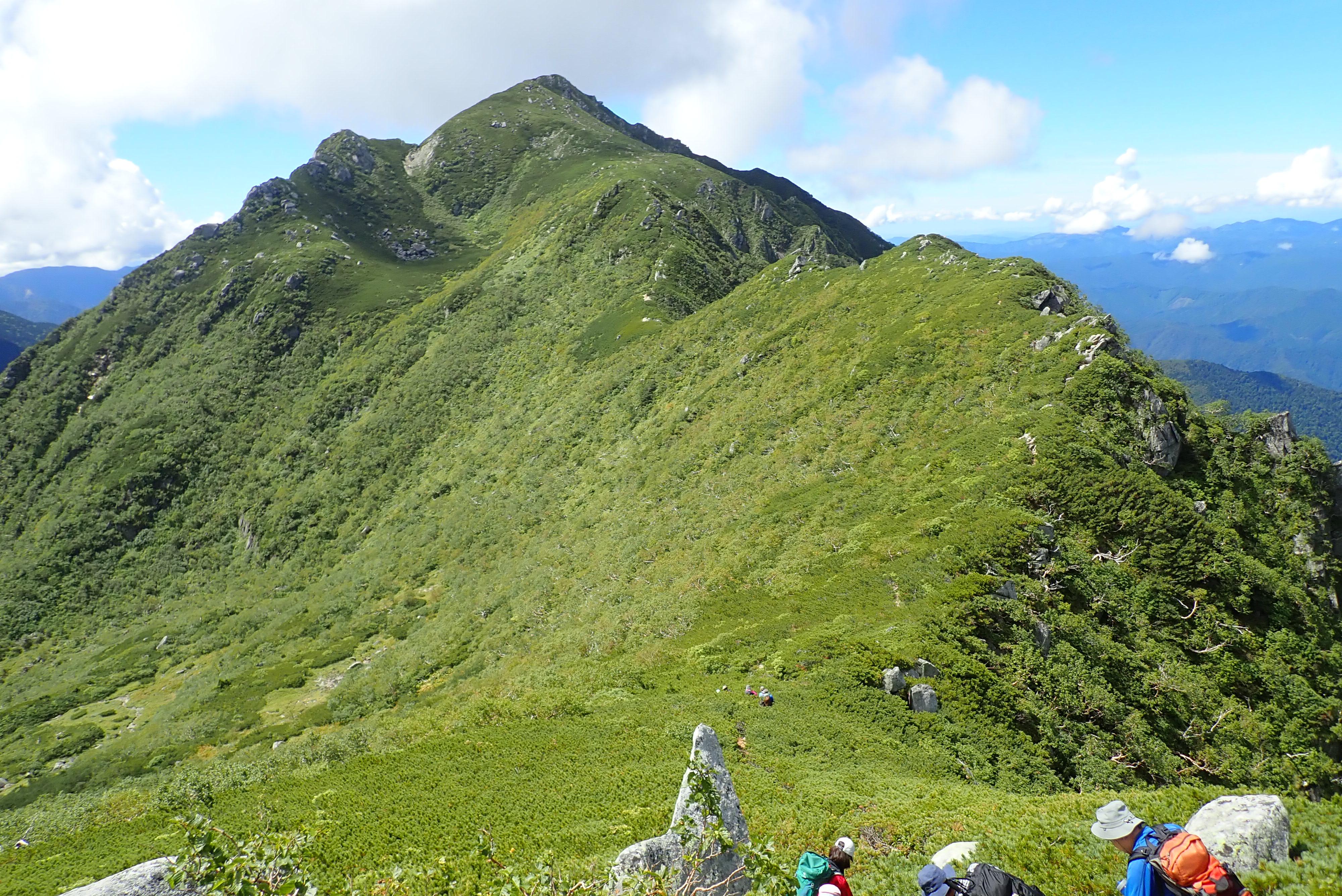 2020/09/05 三ノ沢岳『ハイマツの登山道から中央アルプスの峰々を望む』
